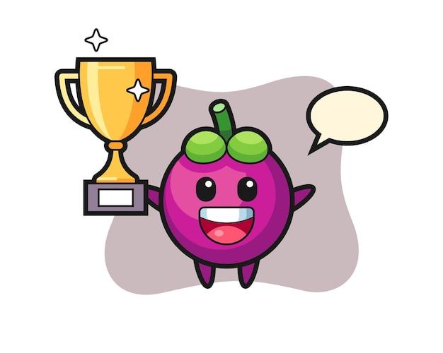 Cartoon illustration der mangostanfrucht ist glücklich, die goldene trophäe hochzuhalten, niedliches design für t-shirt, aufkleber, logo-element