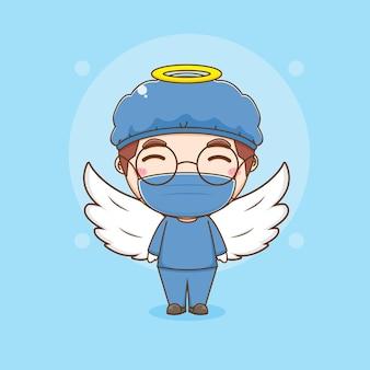 Cartoon-illustration der niedlichen arztfigur mit flügeln als engel