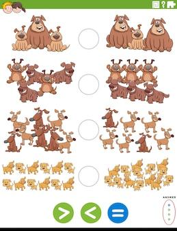 Cartoon illustration der pädagogischen mathematischen puzzle aufgabe von größer als, kleiner als oder gleich für kinder mit hunden tierzeichen arbeitsblatt seite