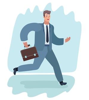 Cartoon-illustration der verängstigten mann im anzug mit aktenkoffer ausgeführt.