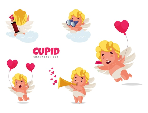 Cartoon-illustration des amor-zeichensatzes