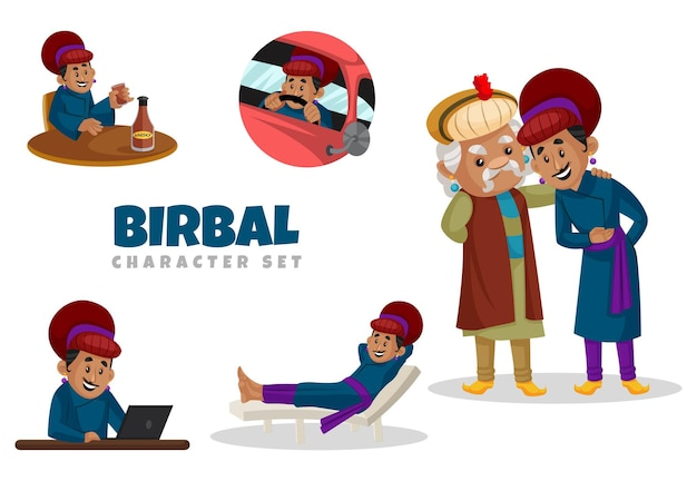 Cartoon-illustration des birbal-zeichensatzes