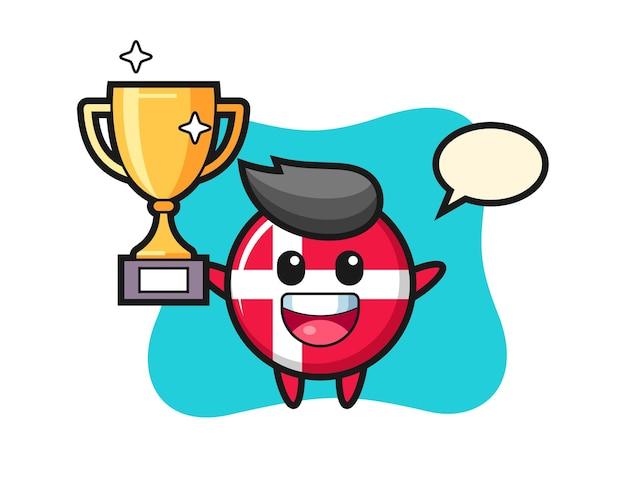 Cartoon illustration des dänischen flaggenabzeichens freut sich, die goldene trophäe hochzuhalten, niedliches design für t-shirt, aufkleber, logo-element