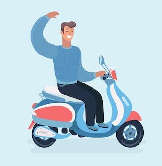 Cartoon-illustration des fröhlichen kerls fährt ein motorrad