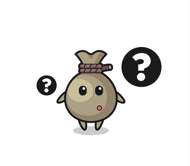 Cartoon illustration des geldsacks mit dem fragezeichen, süßes design für t-shirt, aufkleber, logo-element