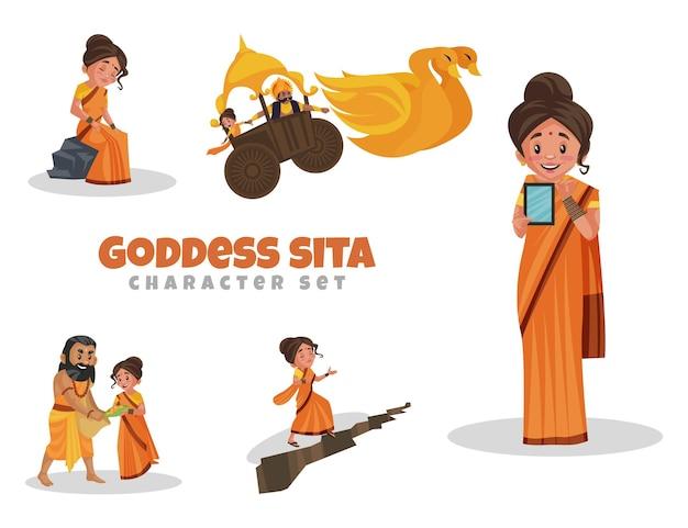 Cartoon-illustration des göttin-sita-zeichensatzes