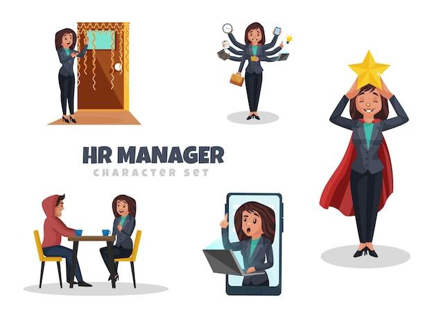 Cartoon-illustration des hr-manager-zeichensatzes