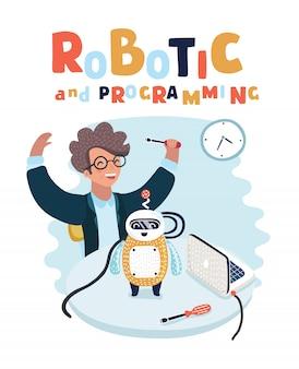 Cartoon-illustration des jungenspiels und der zusammengebauten niedlichen roboterkonstruktion und -programmierung. nerd kluger junger mensch hat das ziel erreicht.