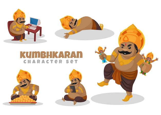 Cartoon-illustration des kumbhkaran-zeichensatzes