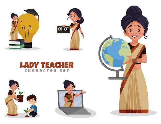 Cartoon-illustration des lehrer-zeichensatzes der dame