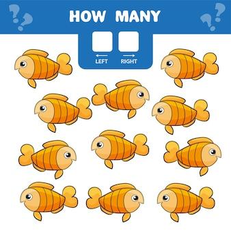 Cartoon-illustration des lernspiels zum zählen von linkem und rechtem bild für kinder - goldfisch