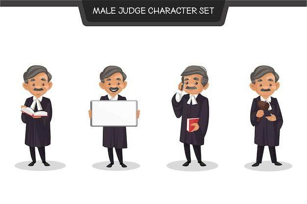 Cartoon-illustration des männlichen richter-zeichensatzes