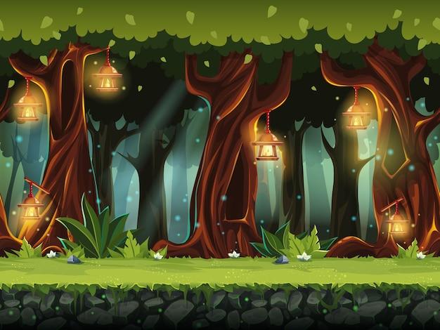Cartoon-illustration des märchenwaldes für die spiel-benutzeroberfläche. .