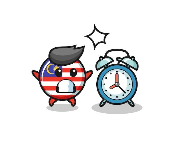 Cartoon illustration des malaysischen flaggenabzeichens ist überrascht mit einem riesigen wecker, süßem design für t-shirt, aufkleber, logo-element