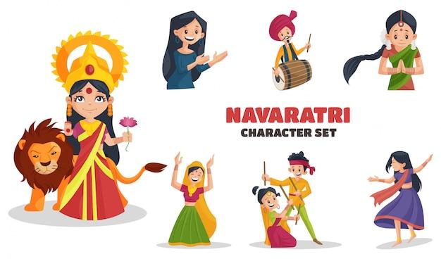 Cartoon-illustration des navaratri-zeichensatzes