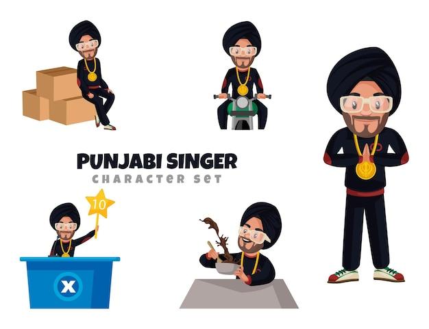 Cartoon-illustration des punjabi-sänger-zeichensatzes