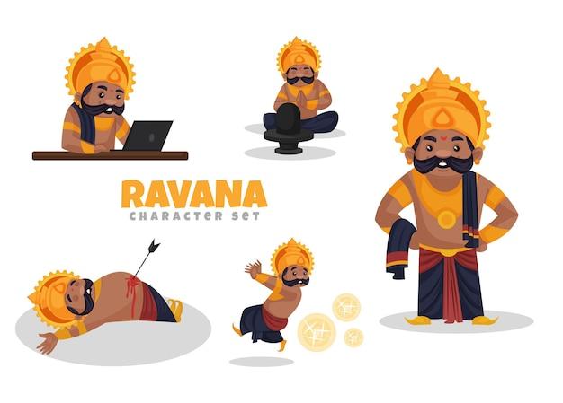 Cartoon-illustration des ravana-zeichensatzes
