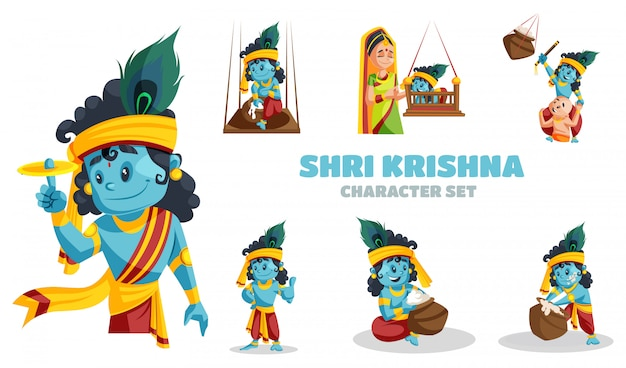 Cartoon-illustration des shri krishna-zeichensatzes
