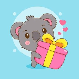 Cartoon-illustration des süßen koalabären-charakters, der eine geschenkbox hält