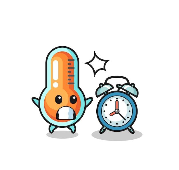 Cartoon illustration des thermometers wird mit einem riesigen wecker überrascht