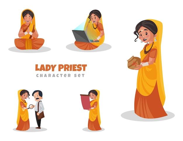 Cartoon-illustration des weiblichen priester-zeichensatzes