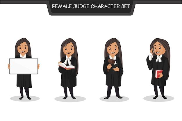Cartoon-illustration des weiblichen richter-zeichensatzes