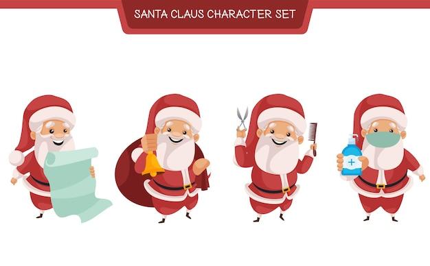 Cartoon-illustration des weihnachtsmann-zeichensatzes