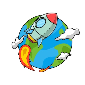 Cartoon-illustration einer rakete, die um die erde geht