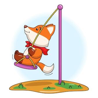 Cartoon-illustration eines süßen fuchses, der auf einem swingg spielt