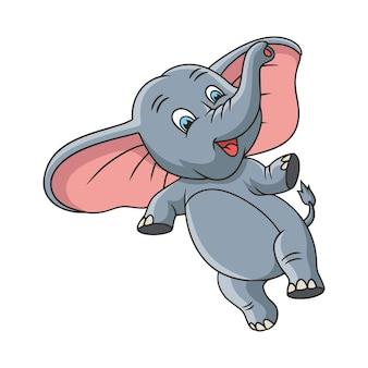 Cartoon illustration elefantensprung