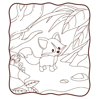 Cartoon illustration fuchs wandern im wald malbuch oder seite für kinder schwarz und weiß