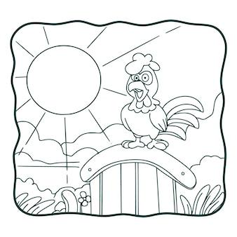 Cartoon illustration hahn kräht buch oder seite für kinder schwarz und weiß