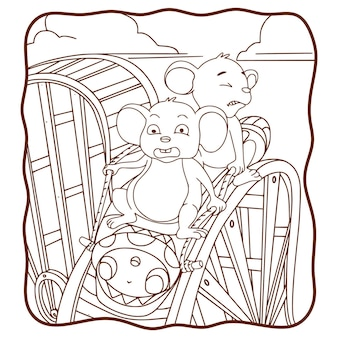 Cartoon illustration maus spielt achterbahn buch oder seite für kinder schwarz und weiß