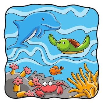 Cartoon illustration meereslebewesen von delfinen, schildkröten, krabben und seefischen