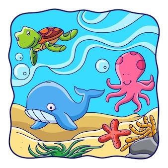 Cartoon illustration meereslebewesen von walen, schildkröten, kraken und seesternen