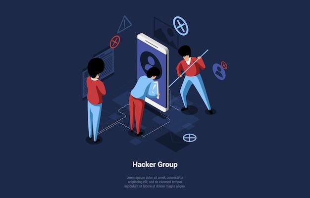 Cartoon-illustration mit hacker-gruppe von drei männlichen charakteren im arbeitsprozess. isometrische zusammensetzung auf dunklem hintergrund mit schreiben. großes smartphone und kleine infografik-objekte.