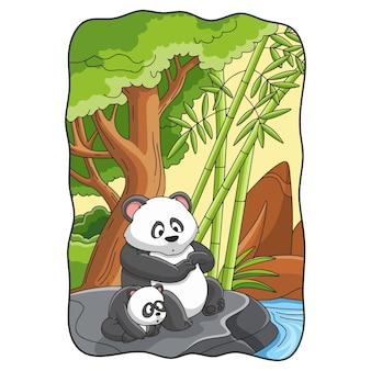 Cartoon-illustration panda mit seinem jungen sitzt auf einem großen felsen am fluss
