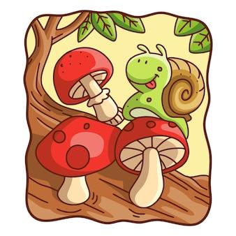 Cartoon-illustration schnecken laufen auf pilzen