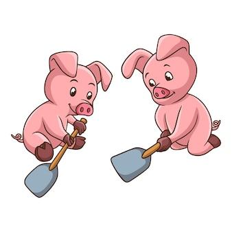 Cartoon illustration schweine fangen an zu graben