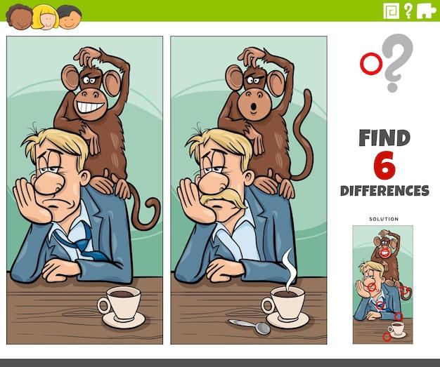 Cartoon-illustration, um die unterschiede zwischen bildern zu finden, lernspiel mit affen auf dem rücken, sprichwort oder sprichwort