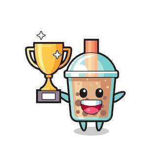 Cartoon illustration von bubble tea ist glücklich, die goldene trophäe hochzuhalten, niedliches design für t-shirt, aufkleber, logo-element