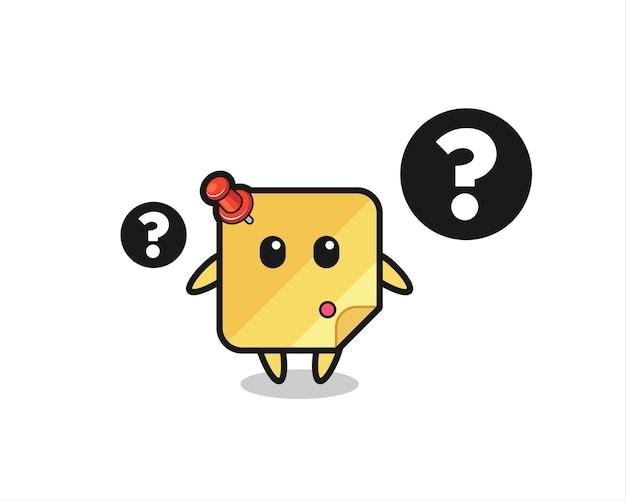 Cartoon illustration von haftnotiz mit dem fragezeichen, süßes design für t-shirt, aufkleber, logo-element