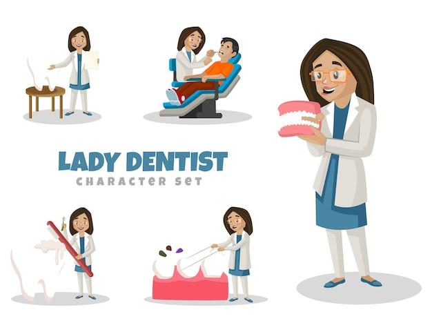 Cartoon illustration von lady dentist zeichensatz