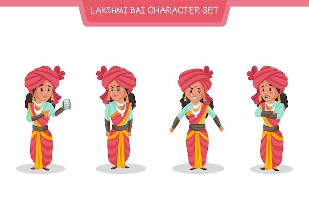 Cartoon illustration von lakshmi bai zeichensatz Premium Vektoren