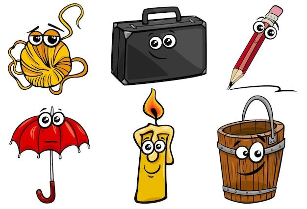 Cartoon-illustration von lustigen objekten zeichen clip art set