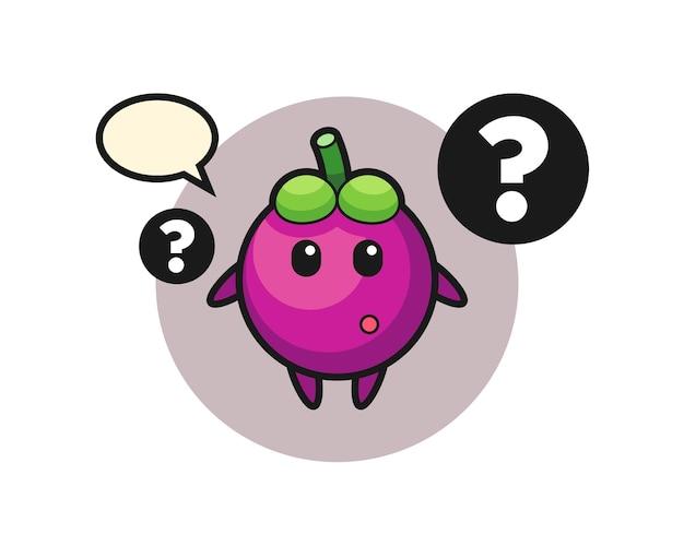 Cartoon illustration von mangostane mit dem fragezeichen, süßes design für t-shirt, aufkleber, logo-element