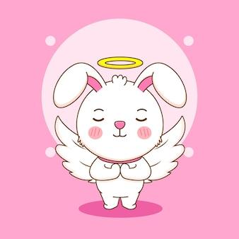 Cartoon-illustration von niedlichen kaninchen als engel