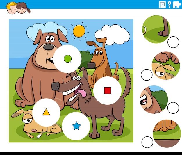 Cartoon illustration von pädagogischen match the pieces puzzlespiel für kinder mit glücklichen hunden tierfiguren