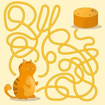 Cartoon-illustration von pfaden oder labyrinth-puzzle-aktivitätsspiel mit kätzchen und pfannkuchen