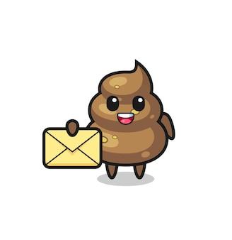 Cartoon-illustration von poop mit einem gelben buchstaben, süßes design für t-shirt, aufkleber, logo-element
